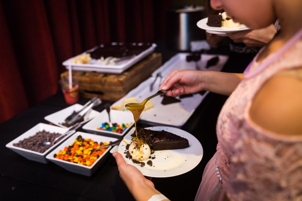 Dessert buffet at a bat mitzvah for an article on 'How to Find a Venue'