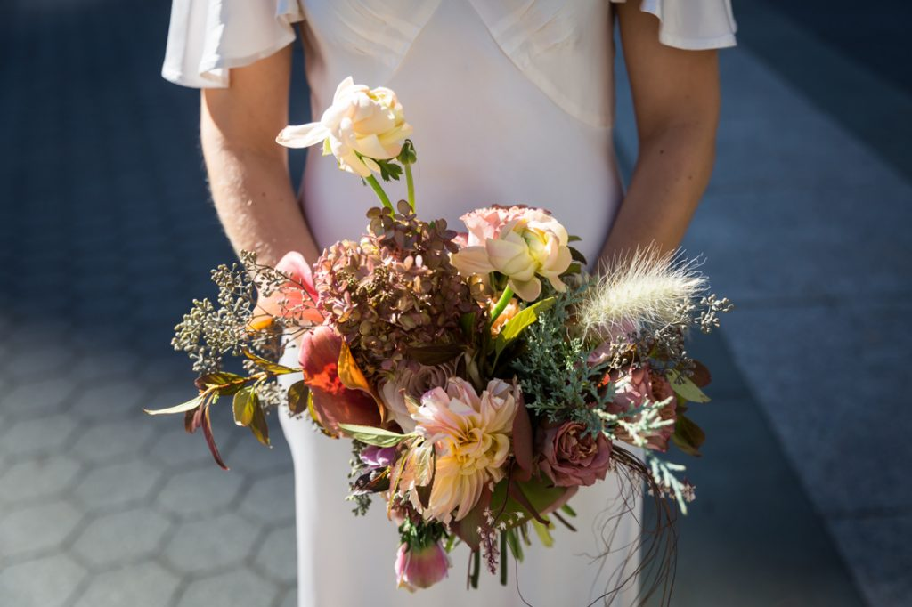 Bridal bouquet for an article on How to Get Married at City Hall in Any NYC Borough