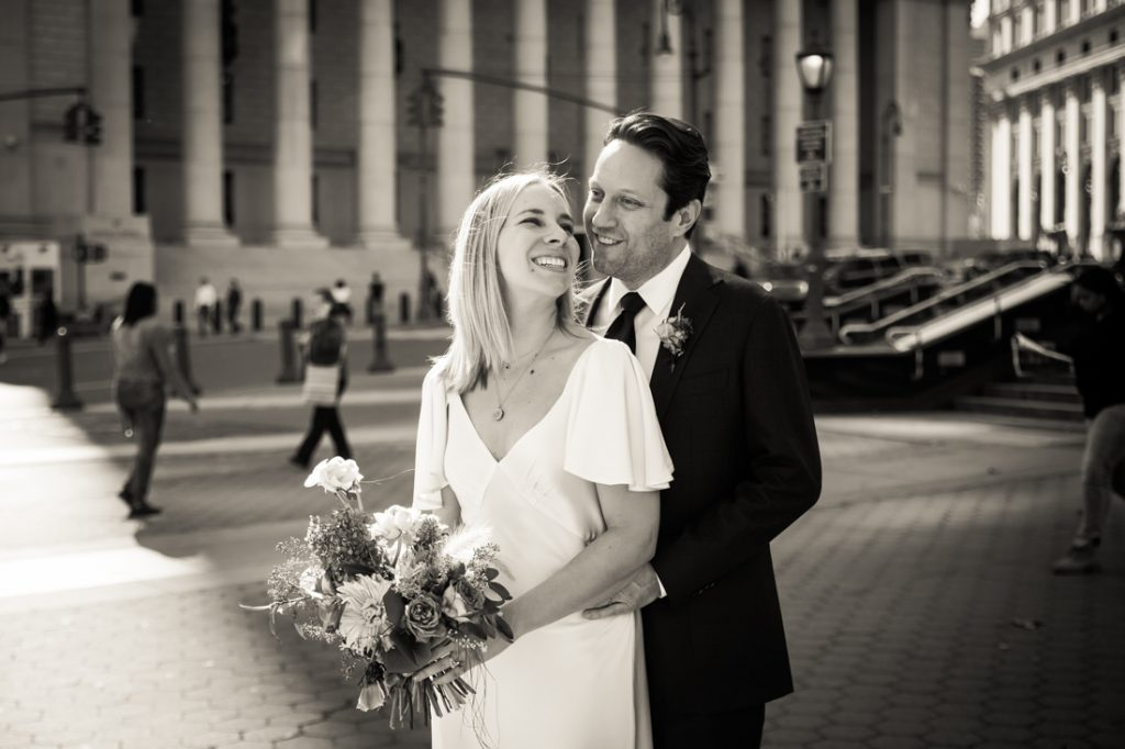 Bride and groom portrait for an article on How to Get Married at City Hall in Any NYC Borough