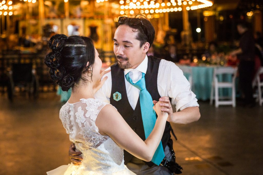 Bride and groom dancing together at a Bear Mountain Inn wedding
