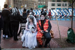 People in costume before the 44th annual Greenwich Village Halloween Parade