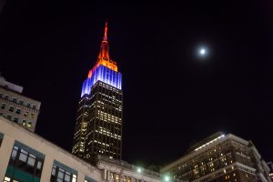 The Empire State Building lit up for Halloween