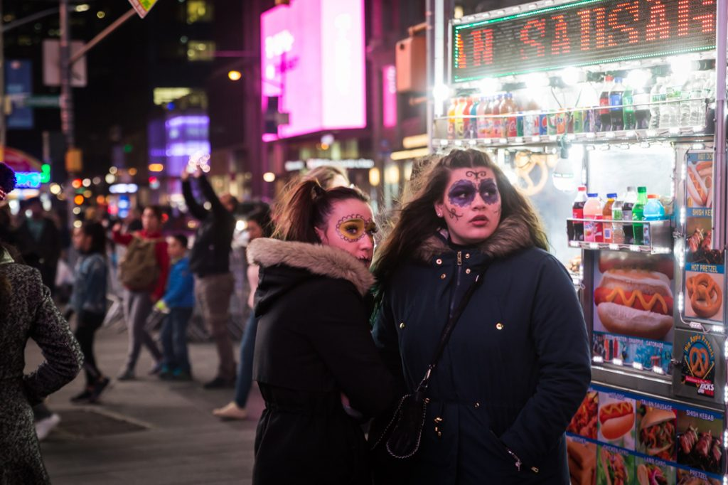 Girls in costume in Times Square