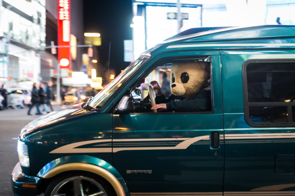 Drive by teddy bears in Times Square