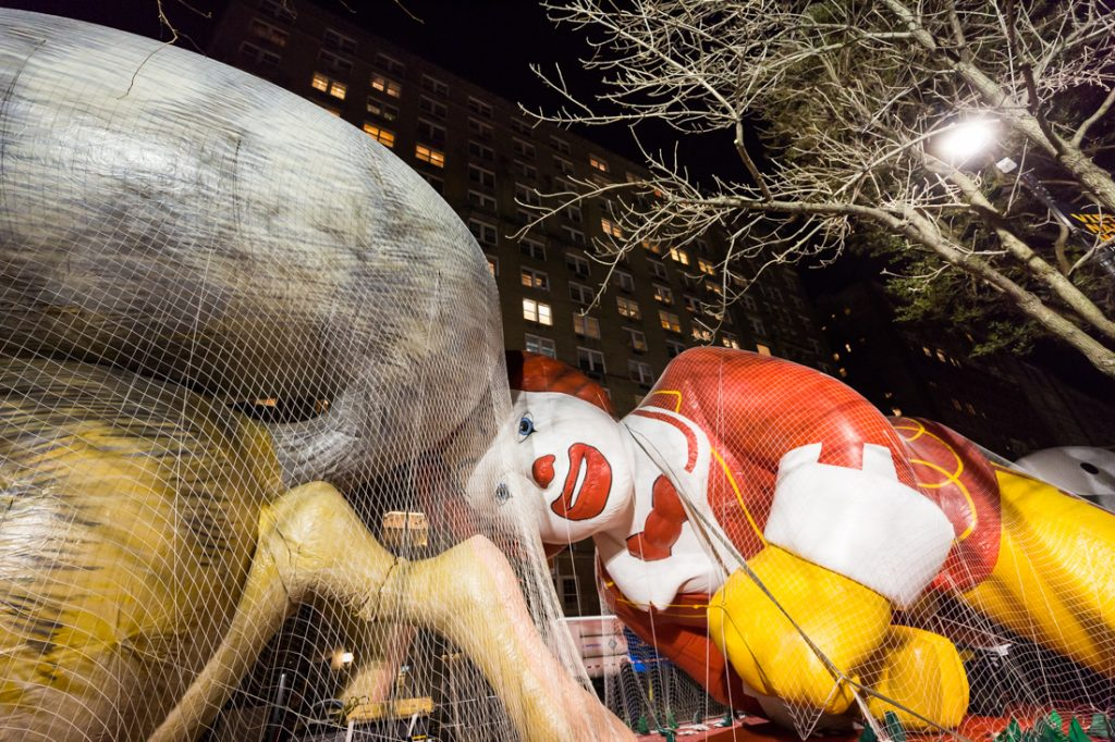 Balloon being inflated at the NYC Thanksgiving Parade Inflation Celebration