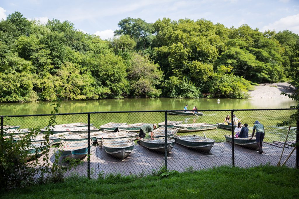 Couple renting a boat for an article on a Central Park lake proposal