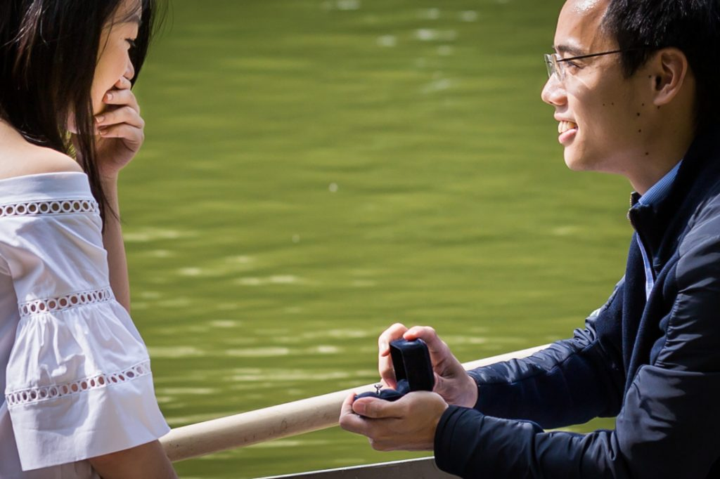 Marriage proposal in Central Park lake for an article on a Central Park lake proposal
