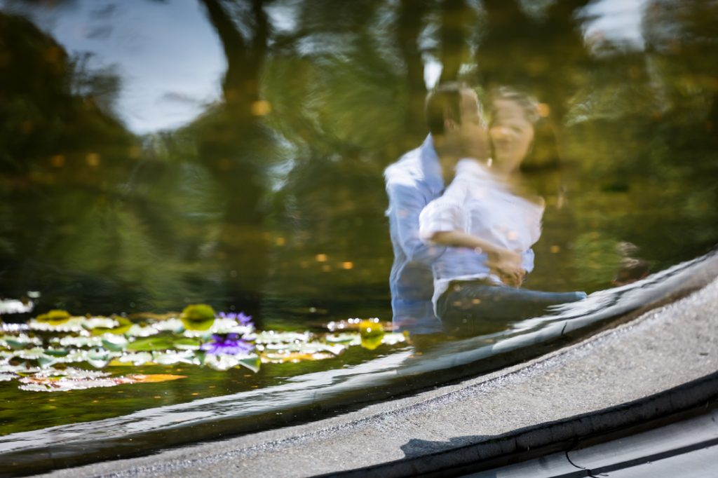 Engagement portrait in Bethesda Fountain in Central Park for an article on a Central Park lake proposal