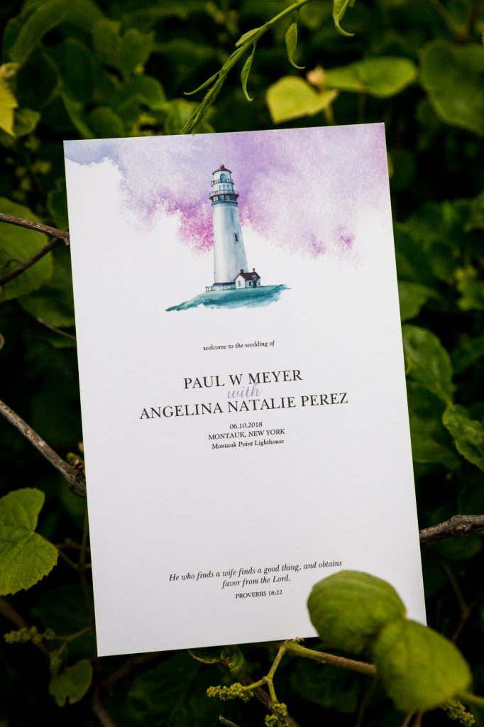 Invitation for a Montauk Lighthouse wedding