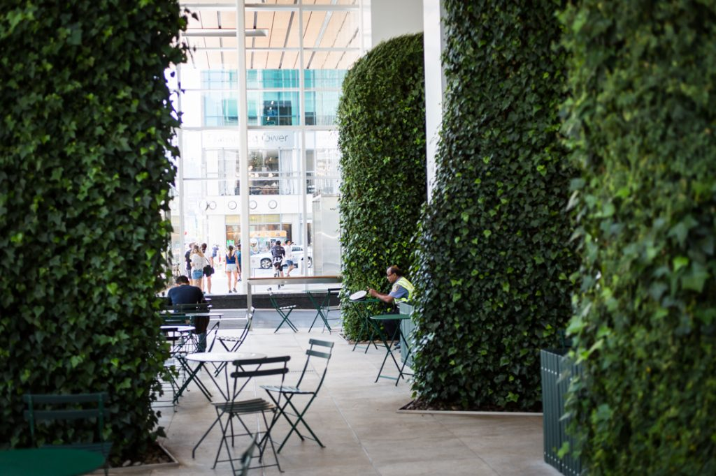 Interior of One Bryant Park for an article on public atriums as an option for NYC rainy day photo shoot locations