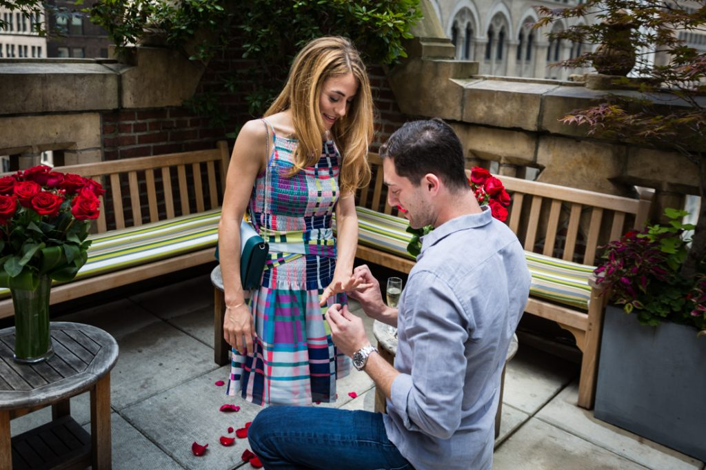 Surprise wedding proposal at the Library Hotel in NYC