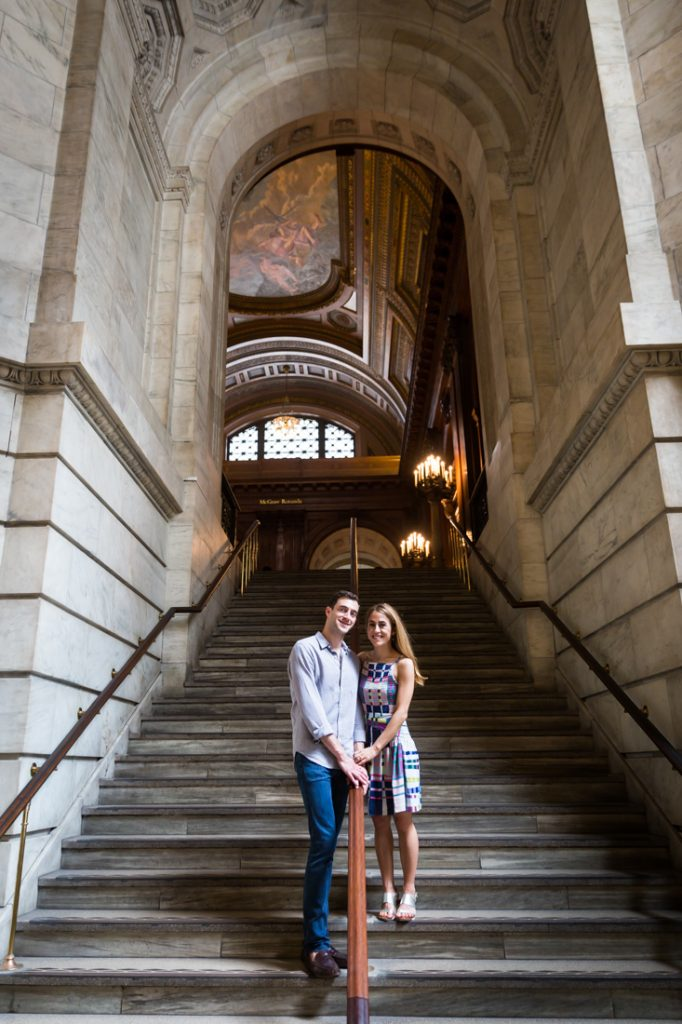 Couple during New York public library engagement shoot