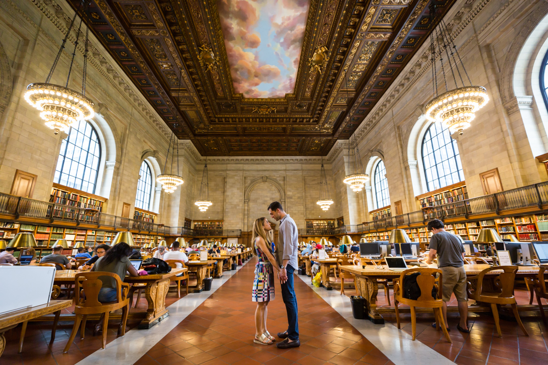 Couple in the Rose Main Reading Room for a New York public library engagement shoot