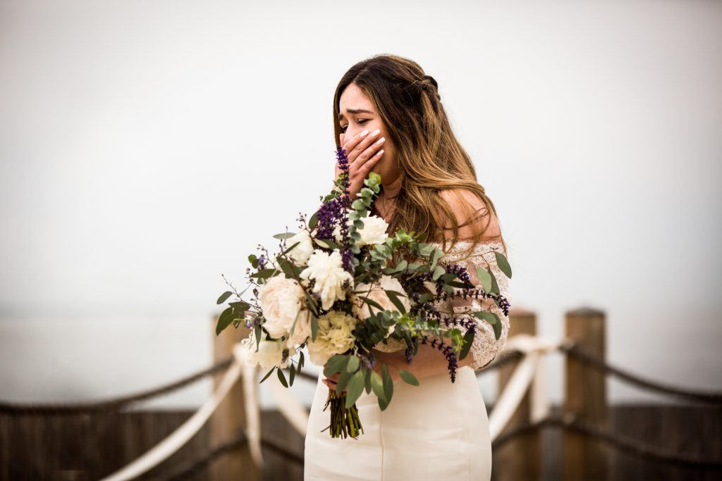 Bride at the altar for an article on Montauk Lighthouse wedding tips