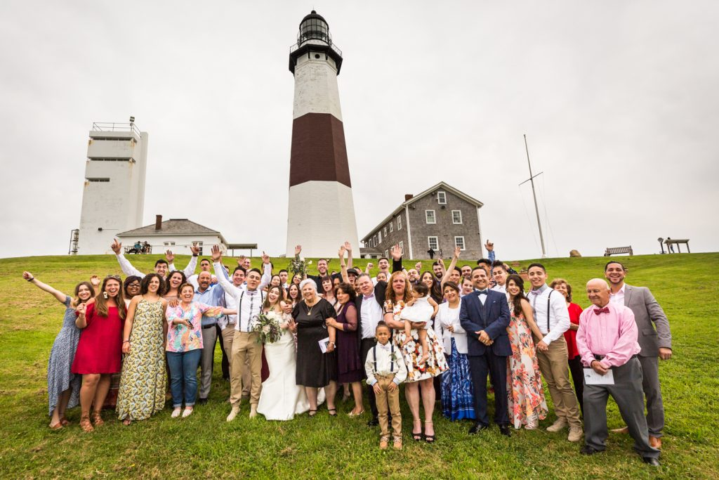 Group family photo for an article on Montauk Lighthouse wedding tips