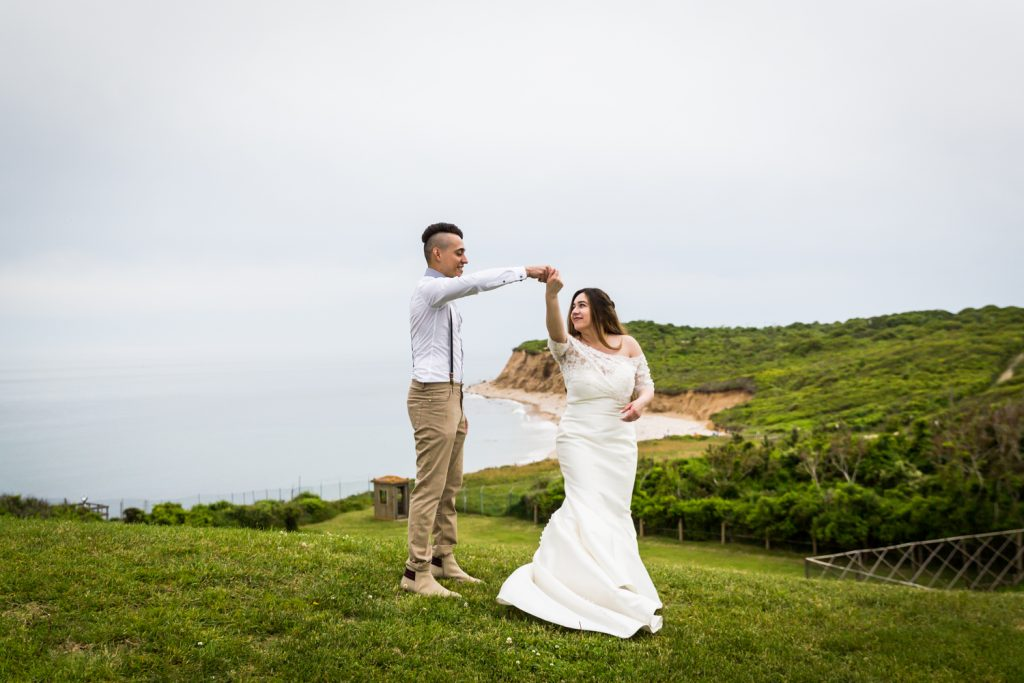 Bride and groom dancing for an article on Montauk Lighthouse wedding tips