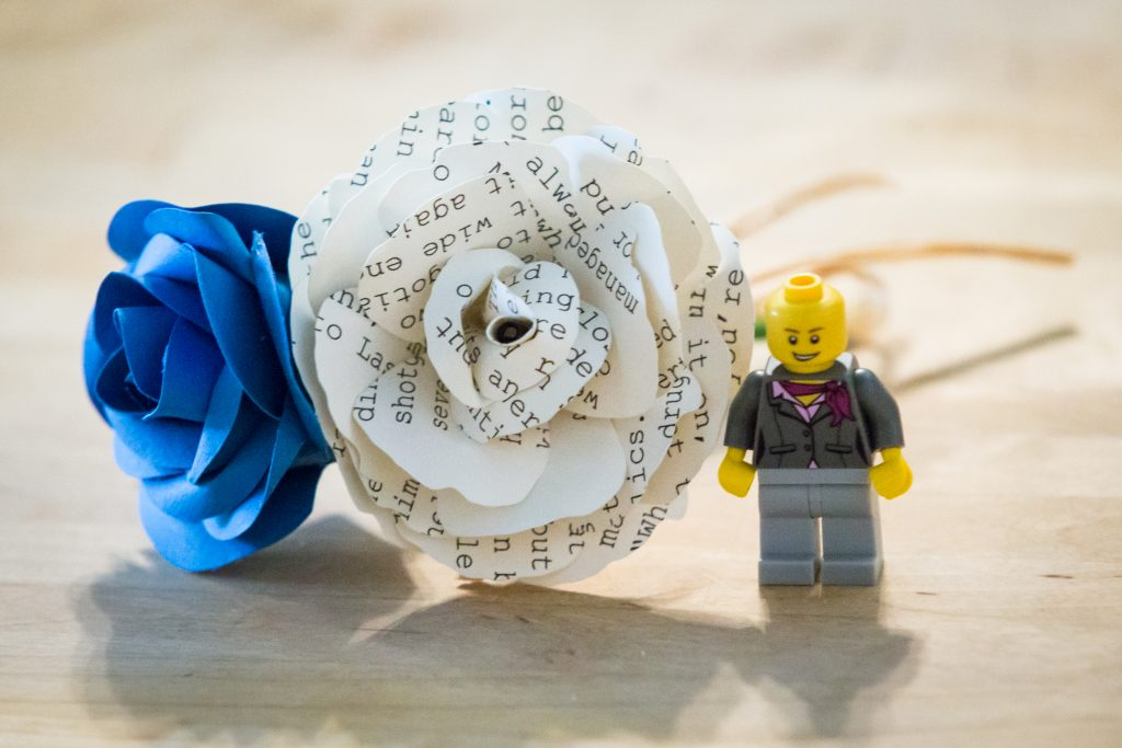 Paper flowers and lego figurine for a wedding