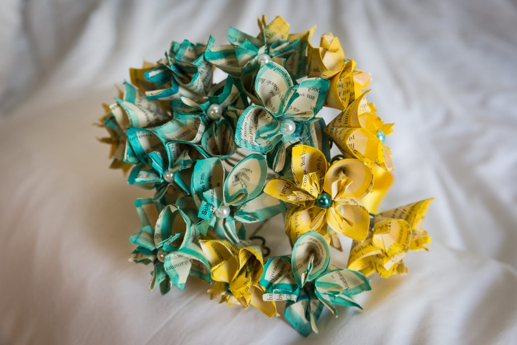 Paper bouquet for an article on bouquet and garter toss alternatives