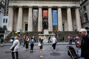 Wall Street for an article on City Hall wedding portrait locations