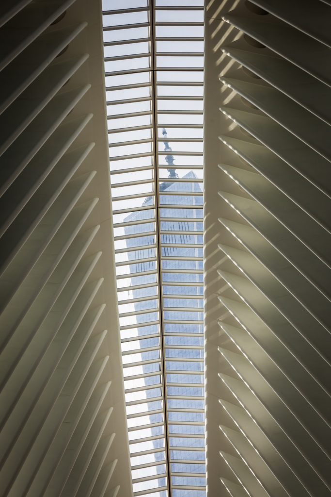 View of Freedom Tower through the Oculus for an article on City Hall wedding portrait locations