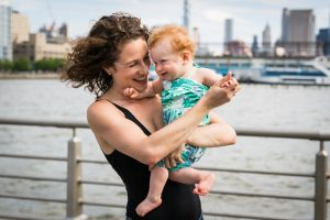 Smiling mother and child in a Hudson River Park Family Portrait