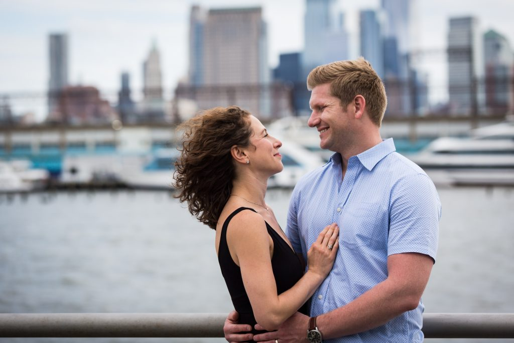 Smiling couple in a Hudson River Park Family Portrait