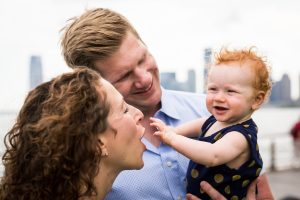 Smiling family in a Hudson River Park Family Portrait