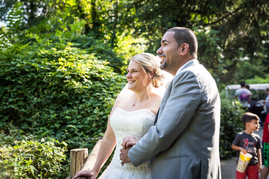 Bride and groom at a Bronx Zoo wedding