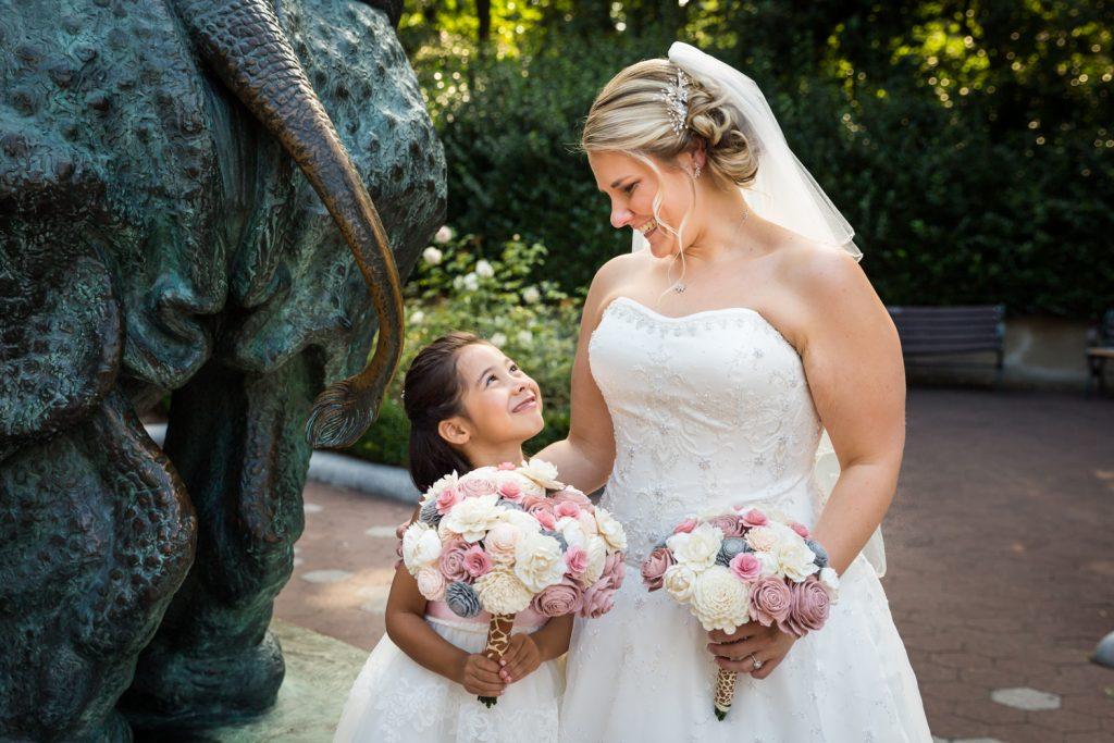 Bride and flower girl Bridal party at a Bronx Zoo wedding