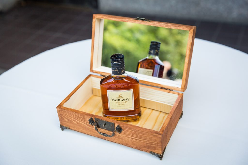 Bottle of Hennessy in box at a Bronx Zoo wedding