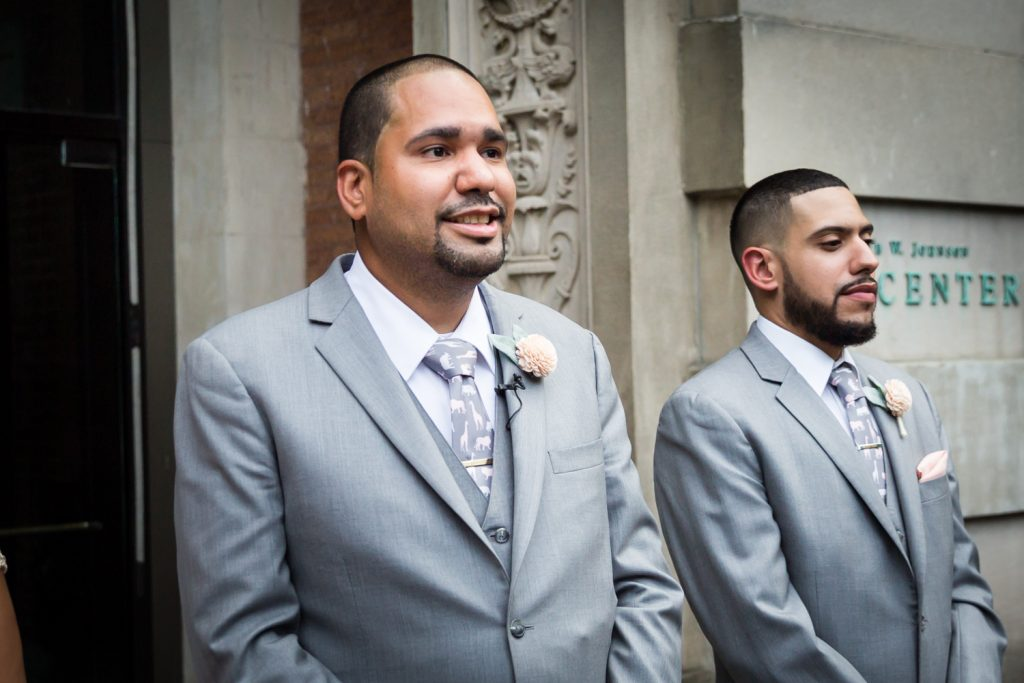 Groom and groomsman at a Bronx Zoo wedding