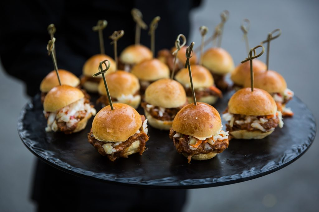 Plate of mini hamburgers at a Bronx Zoo wedding