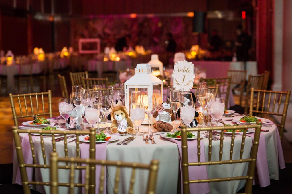 Table setting at a Bronx Zoo wedding