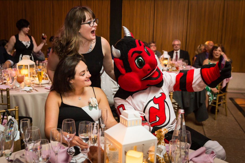 NJ Devil mascot and guests at a Bronx Zoo wedding