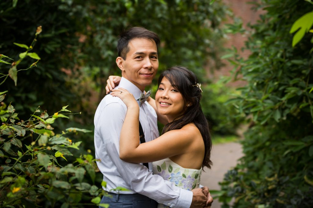 Portrait of bride and groom for an article on the pros and cons of a restaurant wedding