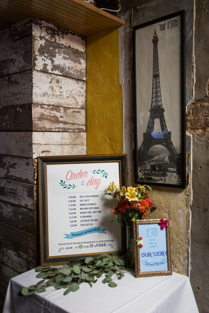 Wedding day schedule and flowers for an article on the pros and cons of a restaurant wedding