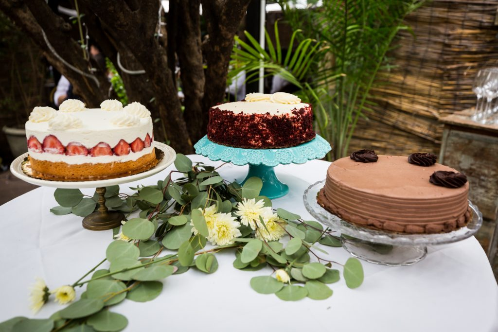 Three different wedding cakes for an article on the pros and cons of a restaurant wedding