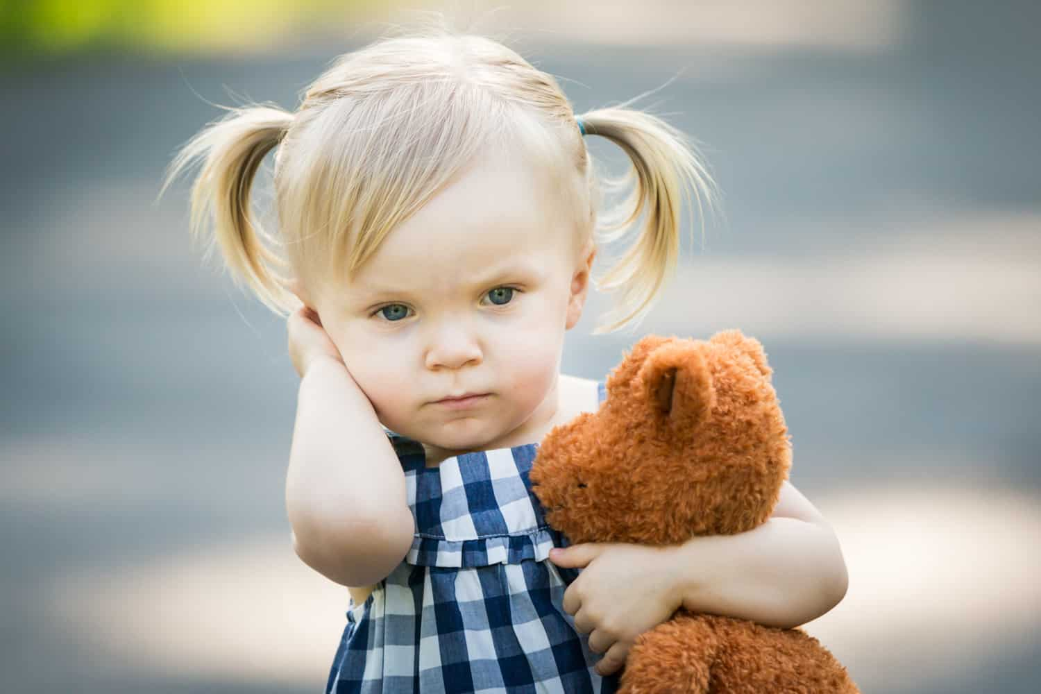 Little blond girl with pigtails holding stuffed animal