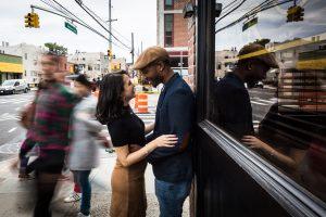 Couple during a Gantry Plaza State Park engagement portrait