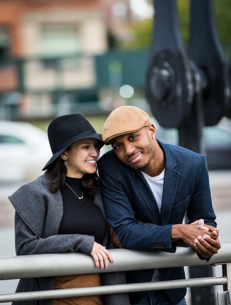 Couple smiling during a engagement shoot