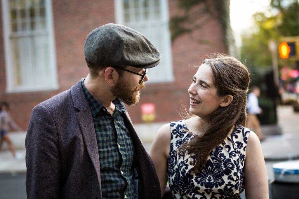 Couple photographed for a Greenwich Village engagement portrait