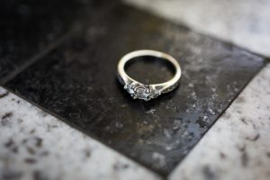 Ring photographed for a Greenwich Village engagement portrait