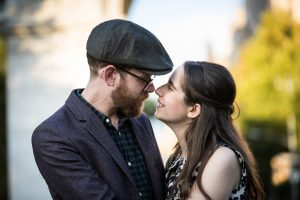 Couple photographed for a Greenwich Village engagement portrait
