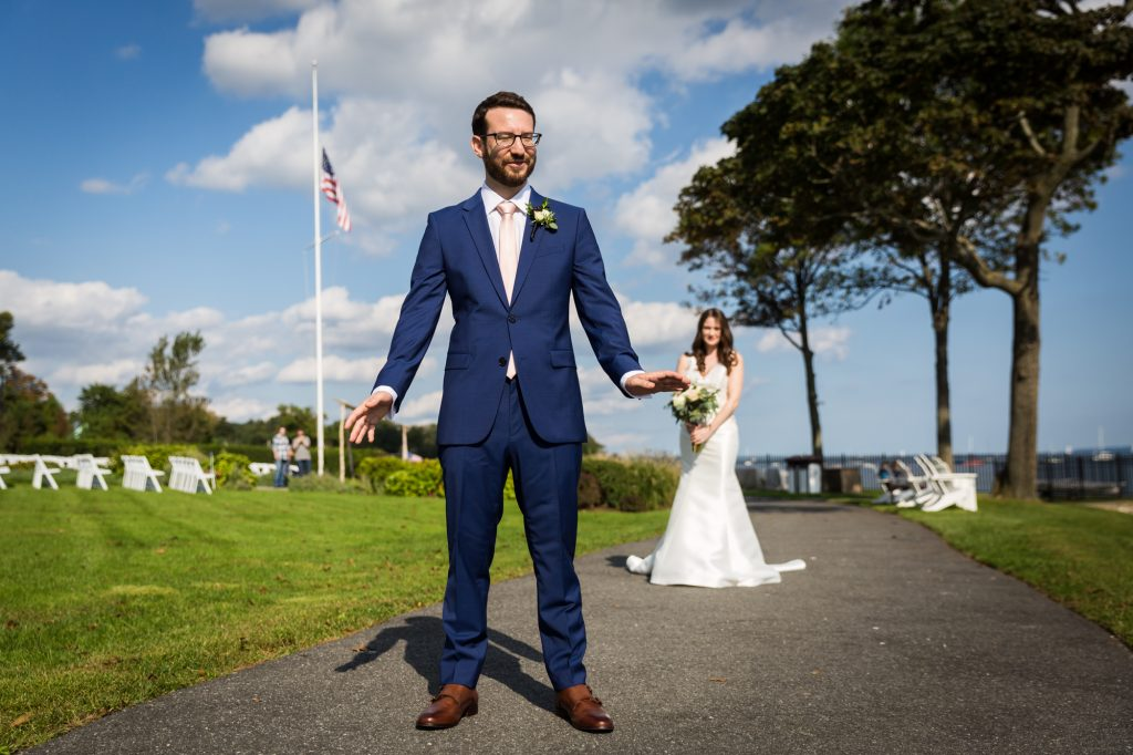 Bride and groom first look at a Larchmont Shore Club wedding