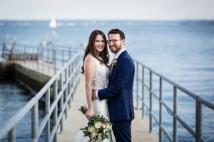 Bride and groom at a Larchmont Shore Club wedding