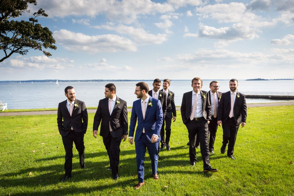 Groom and groomsmen at a Larchmont Shore Club wedding