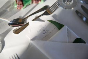 Table setting at a Larchmont Shore Club wedding