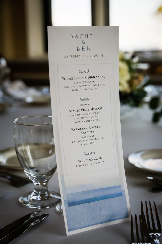 Menu card at a Larchmont Shore Club wedding