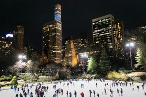 Ice skaters in Central Park for an article on NYC holiday card location suggestions