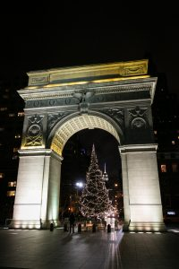 Washington Square Park Arch at Christmas for an article on NYC holiday card location suggestions